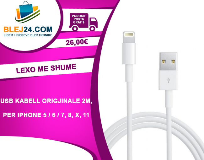 USB Kabell Origjinale per iPhone ( Lightning ) 2m per iPhone 5, 6, 7, 8, X, 11