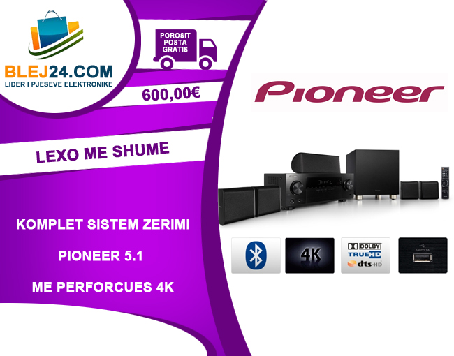 Pioneer 5.1 HDMI 3D AV Receiver with 4K Pass Through, Bluetooth, HD Audio and Speaker Package