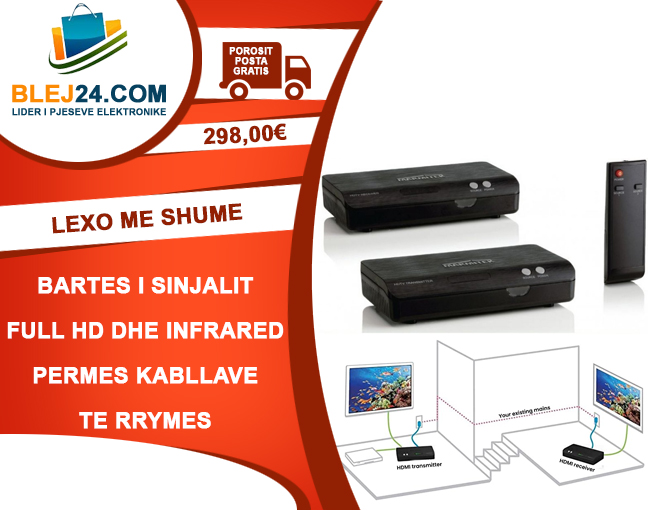 Bartes i sinjalit FULL HD dhe Infra Red permes kabllave te rrymes