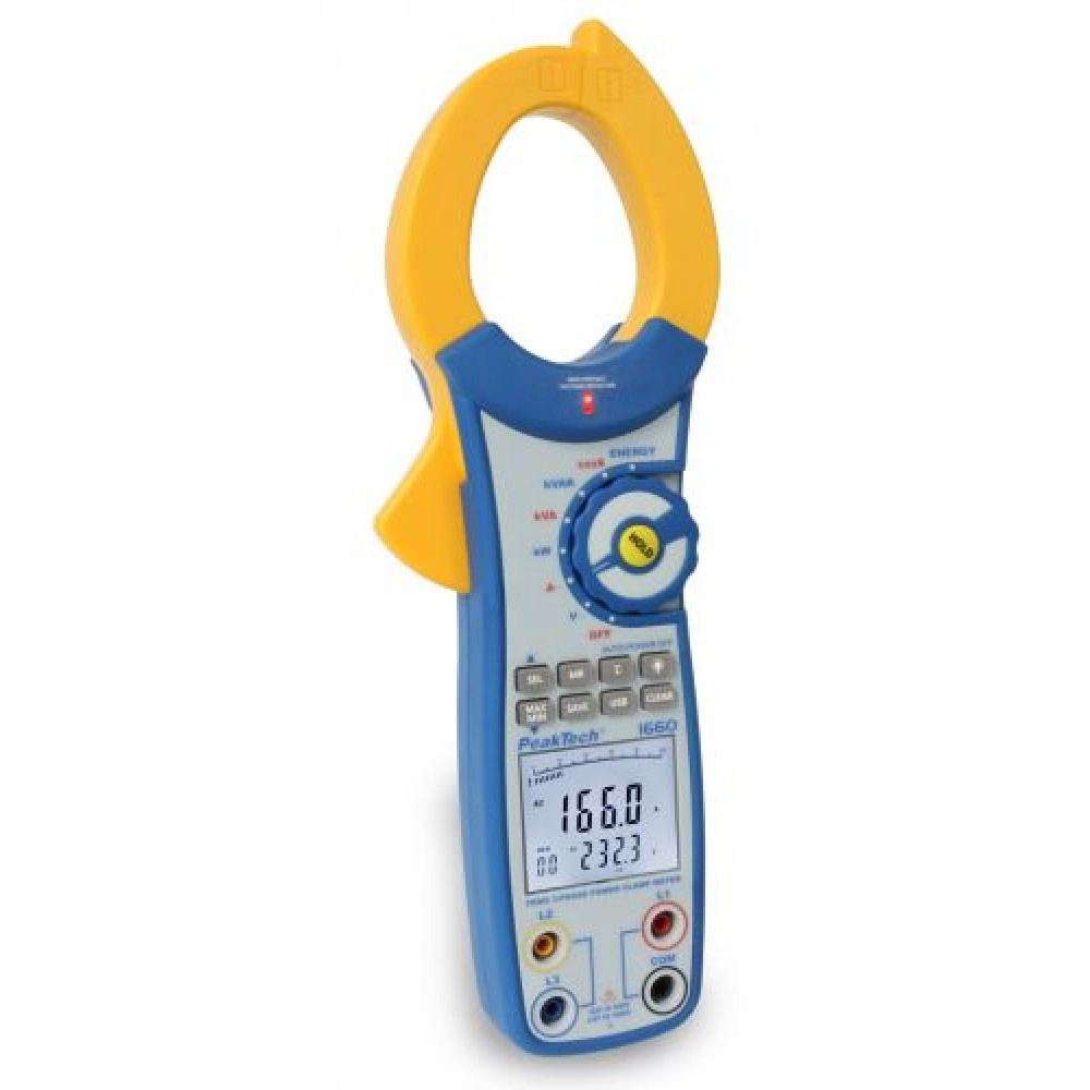 Digital Power Clamp Meter, 4 digit, 750 kW, with USB