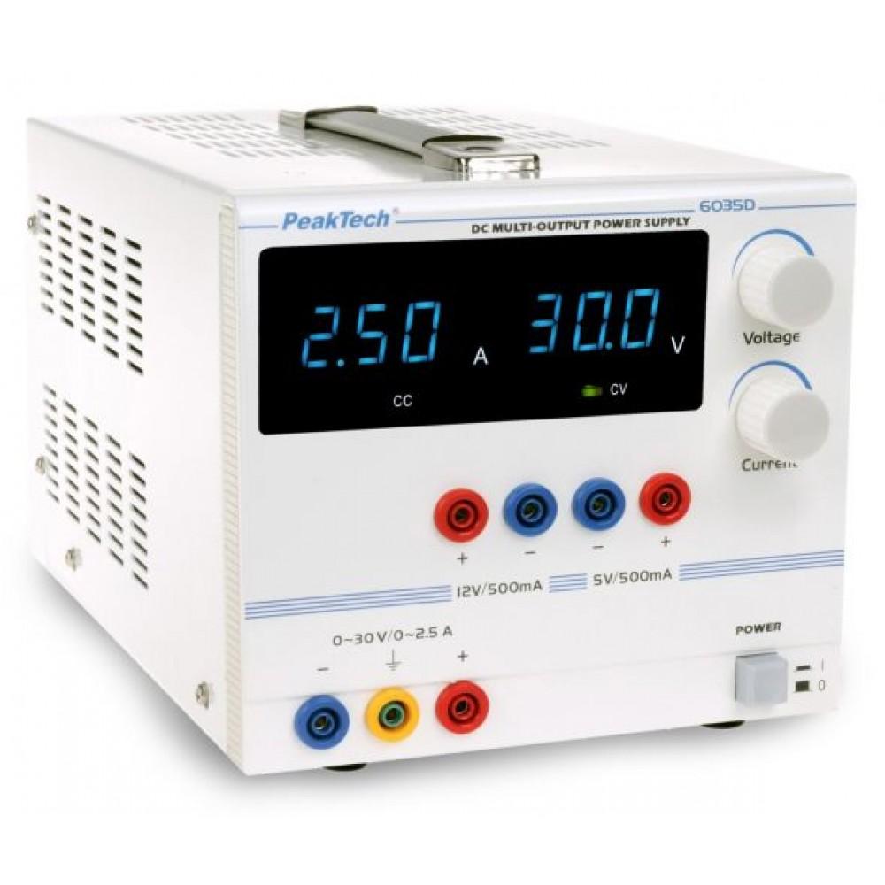 Digital Laboratory power supply 0-30 V/0 - 2,5 A DC, 5/12 V/0,5 A fixed