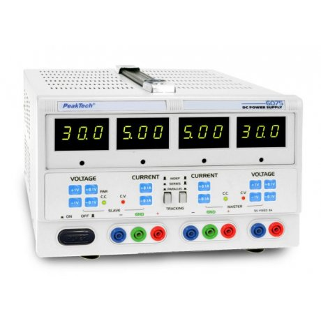 Digital Laboratory Power Supply, 2 x 0 - 30 V/0 - 5 A DC, 5 V/3 A fixed