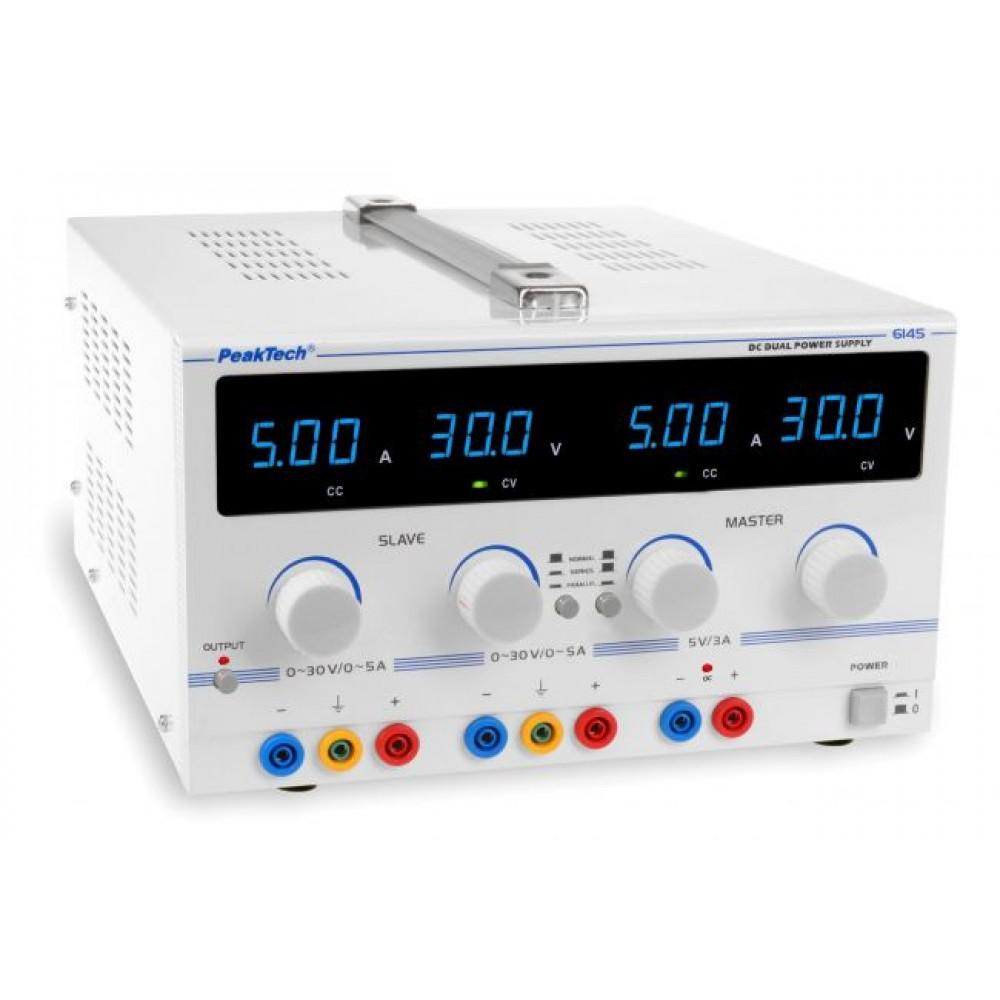 Digital Laboratory Power Supply 2x0-30 V / 0-5 A DC / 5V/3A fixed