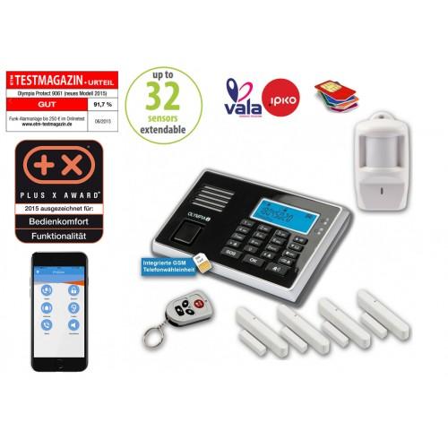 Sistem alarmi OLYMPIA GSM me 1 senzor te levizjes + 4 senzor te hapjes, sirene e integruar - 2 VITE GARANCION