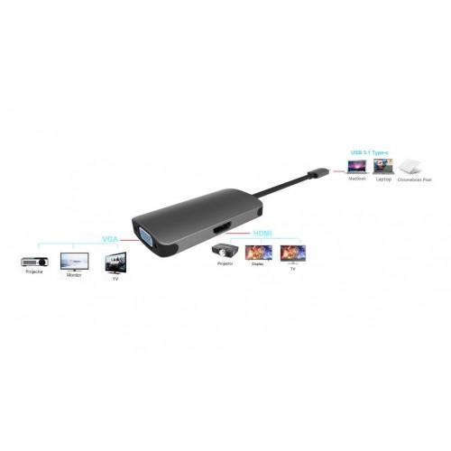 Adapter USB Type C 3.1 ne HDMI dhe VGA