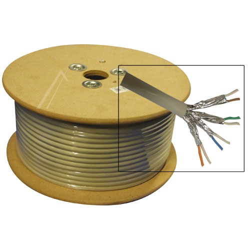 Kabell interneti CAT6, S/FTP, GRAU - 100m, e certifikuar